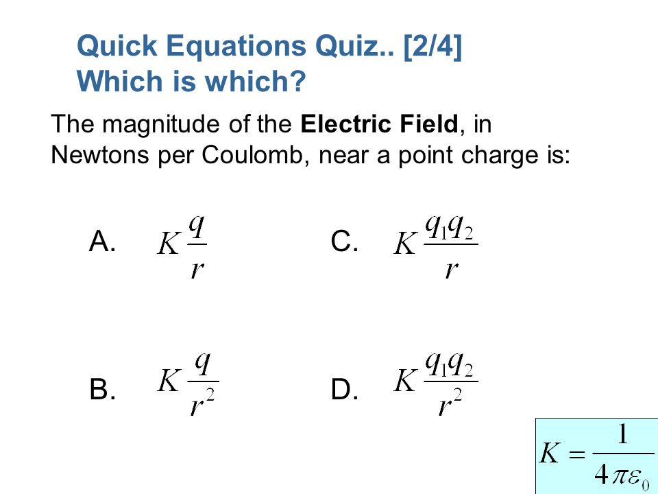 Quick Equations Quiz.. [2/4] Which is which